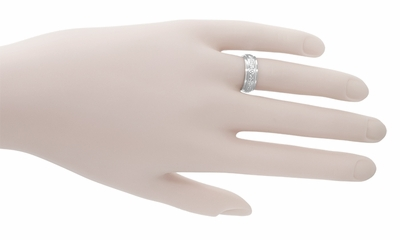 Art Deco Leaves and Flowers 6mm Wide Wedding Band in 18 Karat White Gold - Size 4.5 - Item R267 - Image 1