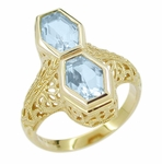 Art Deco Love Duet Blue Topaz Filigree Ring in 14 Karat Yellow Gold