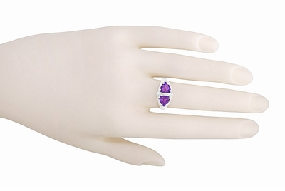 Art Deco Loving Duo Filigree 2 Stone Amethyst Ring in Sterling Silver - Item R1123AM - Image 5