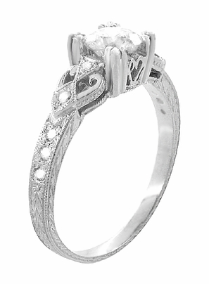 Art Deco Loving Hearts 1/2 Carat Diamond Antique Style Engraved Engagement Ring in 18 Karat White Gold - Item R459DR - Image 1