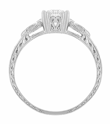 Art Deco Loving Hearts 1/2 Carat Diamond Antique Style Engraved Engagement Ring in 18 Karat White Gold - Item R459DR - Image 2