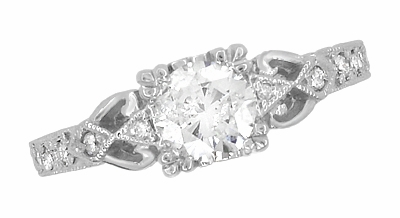 Art Deco Loving Hearts 1/2 Carat Diamond Antique Style Engraved Engagement Ring in 18 Karat White Gold - Item R459DR - Image 3