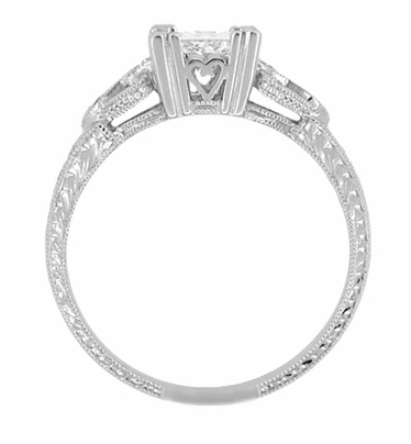 Art Deco Loving Hearts 1 Carat Princess Cut Diamond Antique Style Engagement Ring in 18K White Gold | Heirloom Engraved - Item R459W1D - Image 2