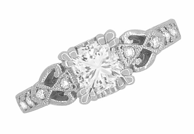Art Deco Loving Hearts 1 Carat Princess Cut Diamond Antique Style Engagement Ring in 18K White Gold   Heirloom Engraved - Item R459W1D - Image 3