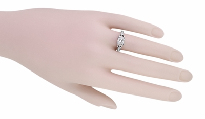 Art Deco Loving Hearts 1 Carat Princess Cut Diamond Antique Style Engagement Ring in 18K White Gold   Heirloom Engraved - Item R459W1D - Image 4