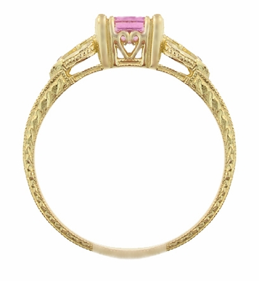 Art Deco Loving Hearts Antique Style Princess Cut Pink Sapphire Engraved Engagement Ring in 18 Karat Yellow Gold - Item R459YPS - Image 3