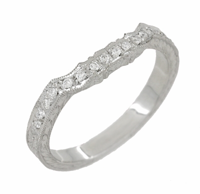 Art Deco Loving Hearts Contoured Engraved Antique Design Wheat Diamond Wedding Ring in 18 Karat White Gold - Item WR459W - Image 2