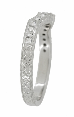 Art Deco Loving Hearts Contoured Engraved Antique Design Wheat Diamond Wedding Ring in 18 Karat White Gold - Item WR459W - Image 3