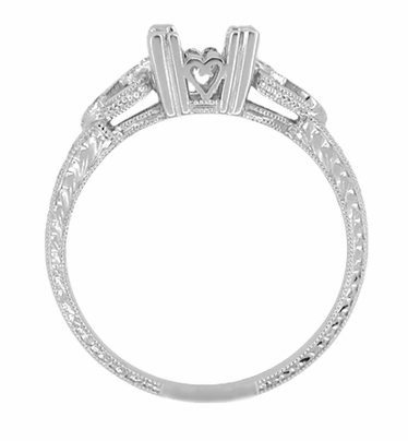 Art Deco Loving Hearts Engraved Antique Style Engagement Ring Setting in 18 Karat White Gold for a 1 Carat Round or Princess Cut Diamond - Item R459W1 - Image 1