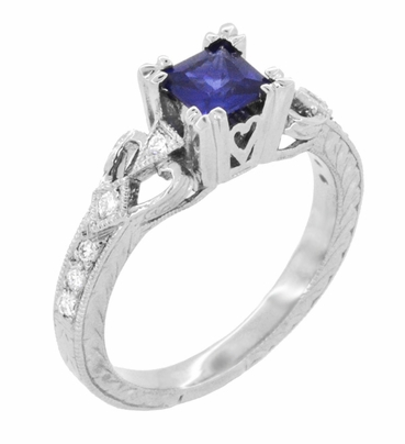 Art Deco Loving Hearts Princess Cut Blue Sapphire Vintage Style Engraved Engagement Ring in Platinum - Item R459PS - Image 1