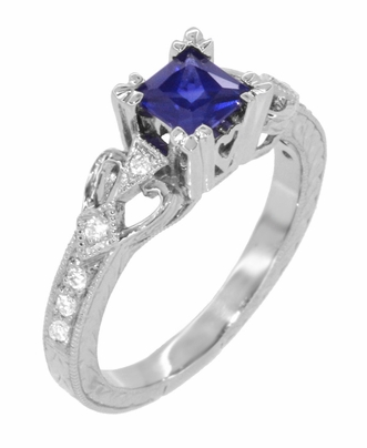 Art Deco Loving Hearts Princess Cut Blue Sapphire Vintage Style Engraved Engagement Ring in Platinum - Item R459PS - Image 2