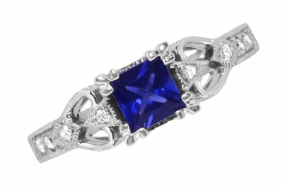 Art Deco Loving Hearts Princess Cut Blue Sapphire Vintage Style Engraved Engagement Ring in Platinum - Item R459PS - Image 5