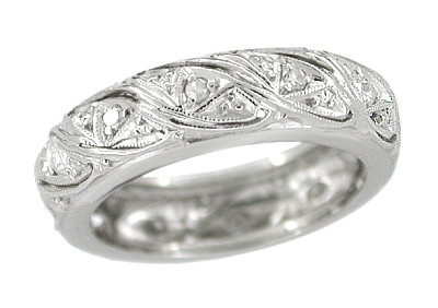 Art Deco Lozenge Engraved Diamond Antique Wedding Band in Platinum - Size 4 1/2