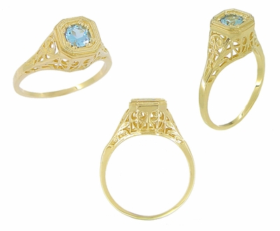 Art Deco Majesty Aquamarine Filigree Ring in 14 Karat Yellow Gold - Item R172 - Image 1