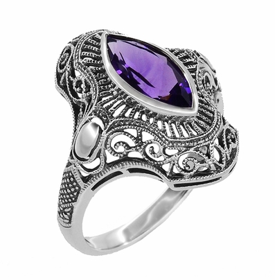 Art Deco Marquise Amethyst Filigree Cocktail Ring in Sterling Silver - Item SSR12A - Image 1