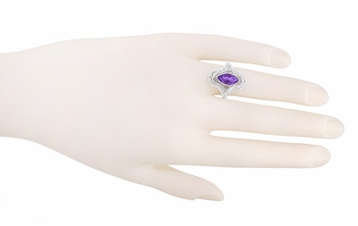 Art Deco Marquise Amethyst Filigree Cocktail Ring in Sterling Silver - Item SSR12A - Image 3