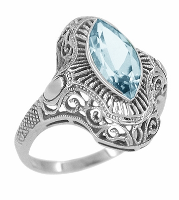 Art Deco Marquise Blue Topaz Filigree Cocktail Ring in Sterling Silver - Item SSR12BT - Image 1
