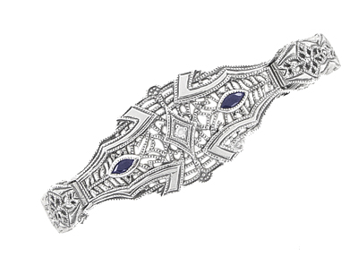 Art Deco Marquise Sapphire and Diamond Filigree Bracelet in 14 Karat White Gold