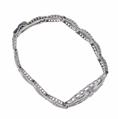 Art Deco Marquise Sapphire and Diamond Filigree Bracelet in 14 Karat White Gold - Item GBR123 - Image 1