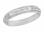 Art Deco Millgrain Edged Hand Engraved Wheat Wedding Ring in 14 Karat White Gold, Antique Carved Wedding Band Design