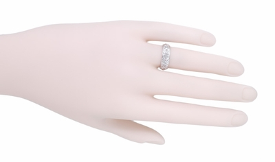 Art Deco Milton Diamond Antique Wedding Band in Platinum - Size 5  - Item R998 - Image 1