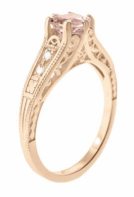 Art Deco Morganite and Diamond Filigree Engagement Ring in 14 Karat Rose ( Pink ) Gold Vintage Design  - Item R158RM - Image 2