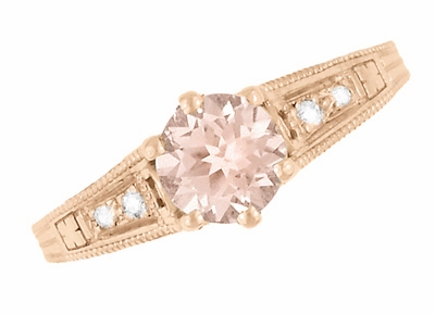 Art Deco Morganite and Diamond Filigree Engagement Ring in 14 Karat Rose ( Pink ) Gold Vintage Design  - Item R158RM - Image 4