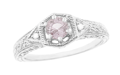 Art Deco Morganite and Diamond Filigree Engraved Engagement Ring in 14 Karat White Gold