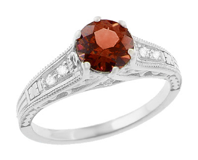 Art Deco Almandine Garnet and Diamond Filigree Artisan Engagement Ring in 14 Karat White Gold