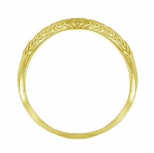 Art Deco Olive Leaves and Engraved Wheat Curved Wedding Band in 14 Karat Yellow Gold - Item WR419Y2 - Image 1