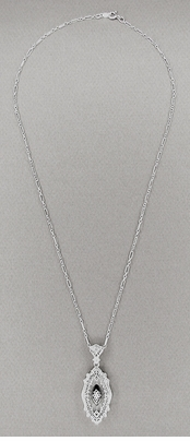 Art Deco Onyx and Crystal Diamond Set Filigree Pendant Necklace in Sterling Silver - Item N119 - Image 1