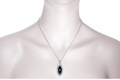 Art Deco Onyx and Diamond Filigree Pendant Necklace in Sterling Silver - Item N105oN - Image 2