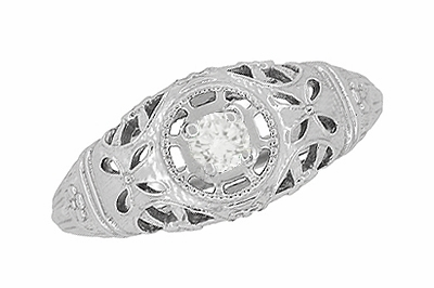 Art Deco Open Flowers Filigree Diamond Engagement Ring in 14 Karat White Gold | Low Profile - Item R428 - Image 3