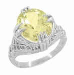Art Deco Oval Filigree Lemon Quartz Statement Ring in Sterling Silver
