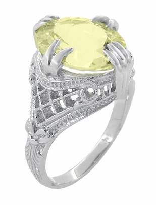 Art Deco Oval Filigree Lemon Quartz Statement Ring in Sterling Silver - Item SSR157LQ - Image 2