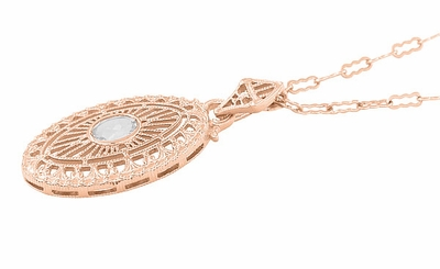 Art Deco Oval White Topaz Filigree Rose Gold Vermeil Pendant Necklace in Sterling Silver - Item N148RWT - Image 1