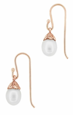 Art Deco Pearl Drop 14 Karat Rose Gold Earrings - Item E135R - Image 1