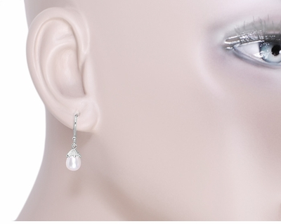 Art Deco Pearl Drop Earrings in 14 Karat White Gold - Item E135 - Image 2
