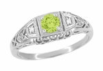 Art Deco Peridot and Diamond Filigree Ring in 14 Karat White Gold