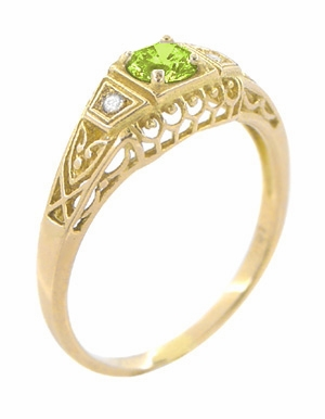 Art Deco Peridot and Diamond Filigree Ring in 14 Karat Yellow Gold - Item R228YPER - Image 1