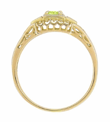 Art Deco Peridot and Diamond Filigree Ring in 14 Karat Yellow Gold - Item R228YPER - Image 2