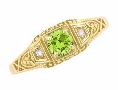 Art Deco Peridot and Diamond Filigree Ring in 14 Karat Yellow Gold - Item R228YPER - Image 3