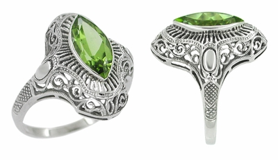 Art Deco Peridot Filigree Cocktail Ring in 14 Karat White Gold - Item R611 - Image 1