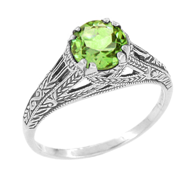 Art Deco Filigree Engraved Peridot Promise Ring in Sterling Silver