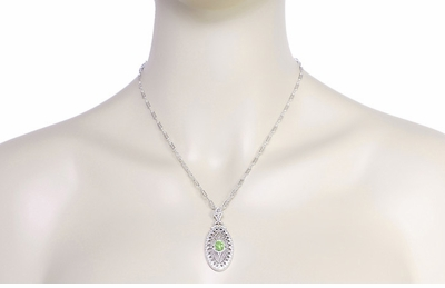 Art Deco Peridot Filigree Oval Pendant Necklace in Sterling Silver - Item N148PER - Image 3