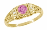 Art Deco Pink Sapphire and Diamond Engagement Ring in 14 Karat Yellow Gold