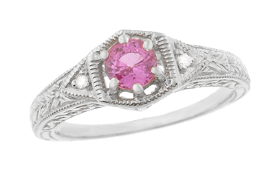Art Deco Pink Sapphire and Diamond Filigree Engraved Engagement Ring in 14 Karat White Gold