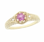 Art Deco Pink Sapphire and Diamond Filigree Engraved Engagement Ring in 14 Karat Yellow Gold