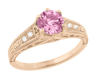 Art Deco Pink Sapphire and Diamonds Filigree Engagement Ring in 14 Karat Pink ( Rose ) Gold