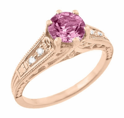 Art Deco Pink Sapphire and Diamonds Filigree Engagement Ring in 14 Karat Pink ( Rose ) Gold - Item R158RPS - Image 1